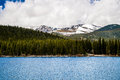 Echo lake on mt evans colorado view of the snow capped summit of seen from the blue waters of mount is one of the top travel Stock Photography