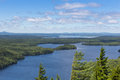 Echo lake this is a view from the side of beech mountain looking across and mount desert island to the maine mainland Stock Photo