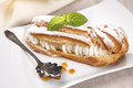 Eclair tasty and sweet with stuffing Royalty Free Stock Photography