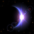 Eclipse background space with planet and shining sun illustration Royalty Free Stock Photo