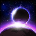 Eclipse an outer space background with an planets and stars layered Stock Photo
