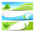 Eco banners three green for print or web Stock Images