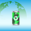 Eco battery picture of a charged with renewable energy with planet earth on background vector eps illustration Royalty Free Stock Photography