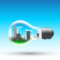 Eco bulb picture of a light with modern big sity inside vector eps illustration Stock Images