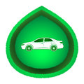 Eco car concept friendly white on green leaf icon isolated on white background Stock Images