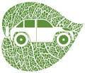 Eco car green leaf background vector illustration Royalty Free Stock Photo