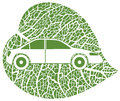 Eco car green leaf background vector illustration Royalty Free Stock Image