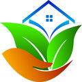 Eco care home a vector drawing represents design Stock Photos