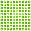 100 eco care icons hexagon green