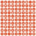 100 eco care icons hexagon orange