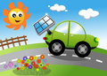 Eco cartoon car illustration featuring an ecologic sedan green provided with solar panel catching energy from sun eps file is Royalty Free Stock Image
