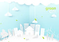 Eco city concept. People happy in Urban city. Paper art style. Royalty Free Stock Photo