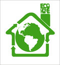 Eco clean earth is our home green recycle arrows composing a house symbolize ecologically framing the globe Stock Photo
