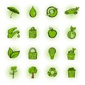 Eco comics green icons set Royalty Free Stock Photo