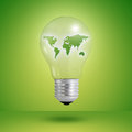 Eco concept: light bulbs with map of world inside Stock Photos