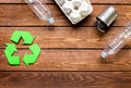 Eco concept with recycling symbol on table background top view mock-up Royalty Free Stock Photo
