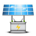 Eco concept vector illustration of with battery and solar panel Royalty Free Stock Photos