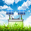 Eco concept vector illustration of with battery and solar panels Stock Photography