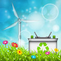 Eco concept vector illustration of with battery and windmill Royalty Free Stock Photography