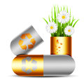 Eco concept vector illustration of with pills Stock Images