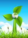 Eco concept windmill made of leaves with globe in the middle lets use renewable energy around the world elements globe windmill Stock Photography