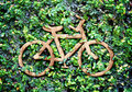 Eco concept :Wood texture Bicycle icon on green leaves wall Royalty Free Stock Photo