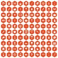 100 eco design icons hexagon orange