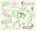 Eco doodles with organic signs and cartoons Stock Photos