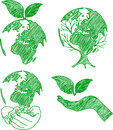 Eco doodles set hand drawn vector illustration Stock Photos