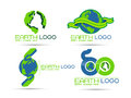 Eco earth logo illustration of save design on white background Stock Photography