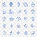 Eco electricity icon set. 25 icons