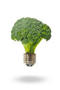 Eco energy with broccoli lamp Stock Photography