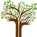 Eco energy concept icons tree with two hands Royalty Free Stock Photos