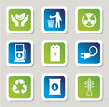 Eco energy icons over gray background illustration Stock Photos