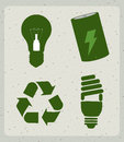 Eco energy icons over pattern background vector illustration Royalty Free Stock Photography