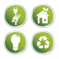 Eco energy icons over white background illustration Royalty Free Stock Photo