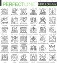 Eco energy outline mini concept symbols. Renewable green technology modern stroke linear style illustrations set