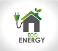 Eco energy over gray background vector illustration Royalty Free Stock Photo