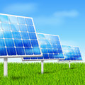Eco energy solar panels concept in grass vector illustration Royalty Free Stock Image
