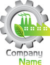 Eco factory logo illustration art of a with isolated background Royalty Free Stock Photography