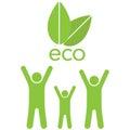 Eco family ahd leaves Royalty Free Stock Photo