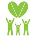Eco family and heart Royalty Free Stock Photo