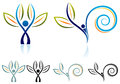 Eco friend abstract illustrated logo design set Royalty Free Stock Photos