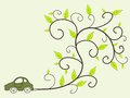 Eco friendly car green environmentally low emissions vehicle with floral ornament coming out of exhaust concept Stock Image