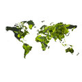 Eco friendly concept with map of the world environment textured green leaves isolated on white background Stock Image