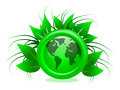 Eco friendly earth illustrated green globe encased casing surrounded green foliage Royalty Free Stock Image