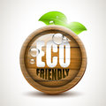 Eco friendly glossy wooden icon Royalty Free Stock Photo