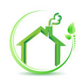 Eco friendly home environment solution sign illustration design over white Stock Images