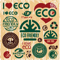 Eco friendly icons set i love eco go green sign vector sign Stock Photo