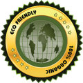 Eco friendly label globe in golden and green color Stock Photo